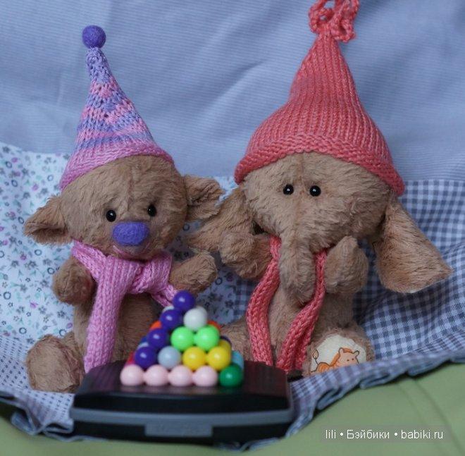 Мои игрушки ручной работы - мишка и слоняша