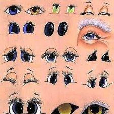 Как нарисовать глаза кукле, примеры