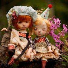 Ксюша и Пуся, авторские куклы Kardenchiki art dolls