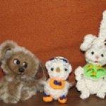 Два дружочка из одного клубочка и щеночек. Авторские игрушки своими руками Елены Хомутовой