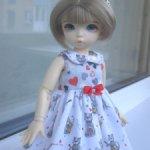 Платье с котиками для Литлфи (littlefee) и кукол аналогичных по размеру.