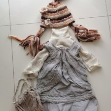 Оригинальная одежда от Zawieruszynski. Комплект водолазка,сарафан,шляпа,сумка.На рост 60-80см
