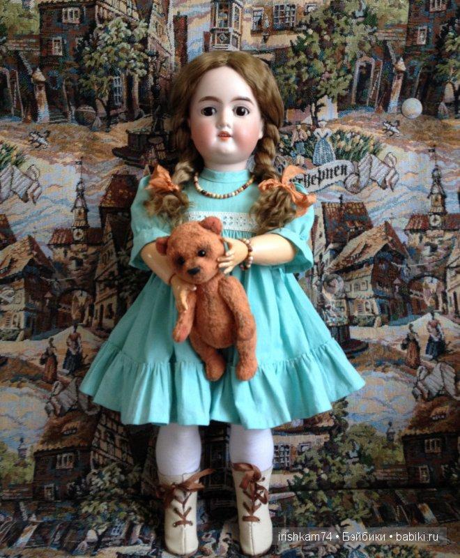 Антикварная кукла, мишка-тэдди Елены Гребенкиной