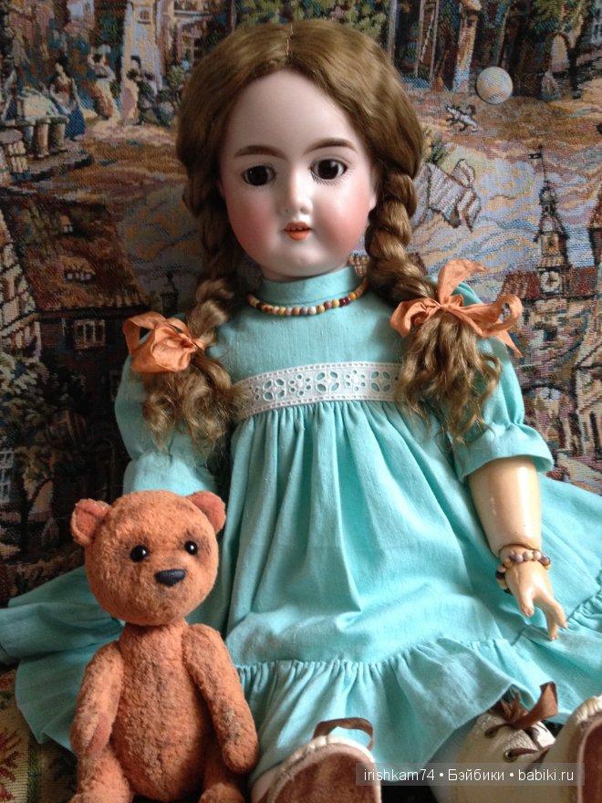Антикварная кукла, мишка Елены Гребенкиной