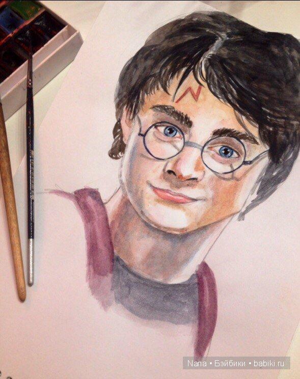Портрет акварелью Гарри Поттер