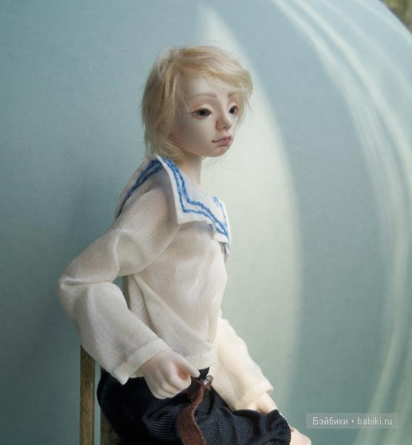 Фарфоровый шарнирный мальчик Иван- капитан, авторская кукла Елены Акимовой