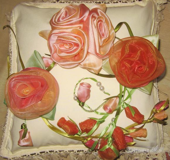 Розочки своими руками. Цветы из остатков органзы и атласа!
