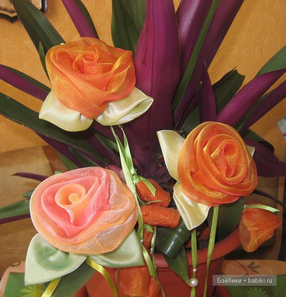 Цветы своими руками из остатков тюли своими руками