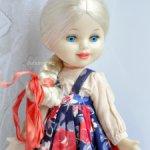 кукла СССР Ленигрушка клеймо мишка паричковая ранняя Машенька рост 33 см. родная одежда