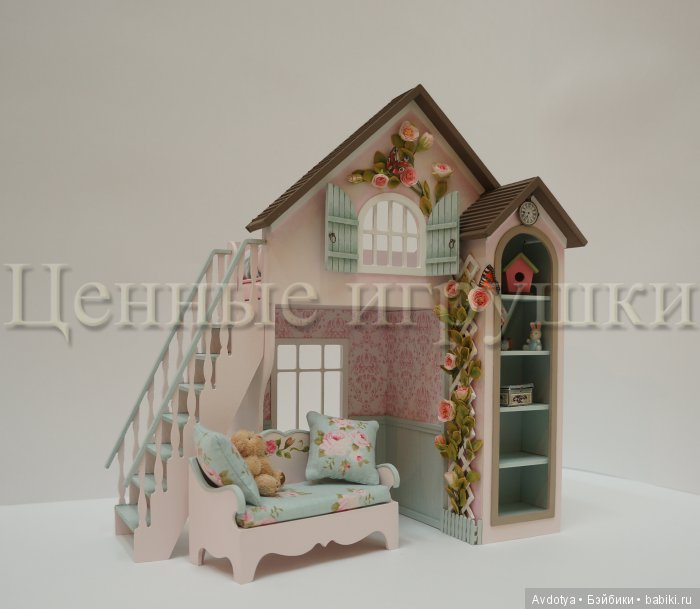 миниатюра, кровать-домик, кукольная кровать, кукольная мебель