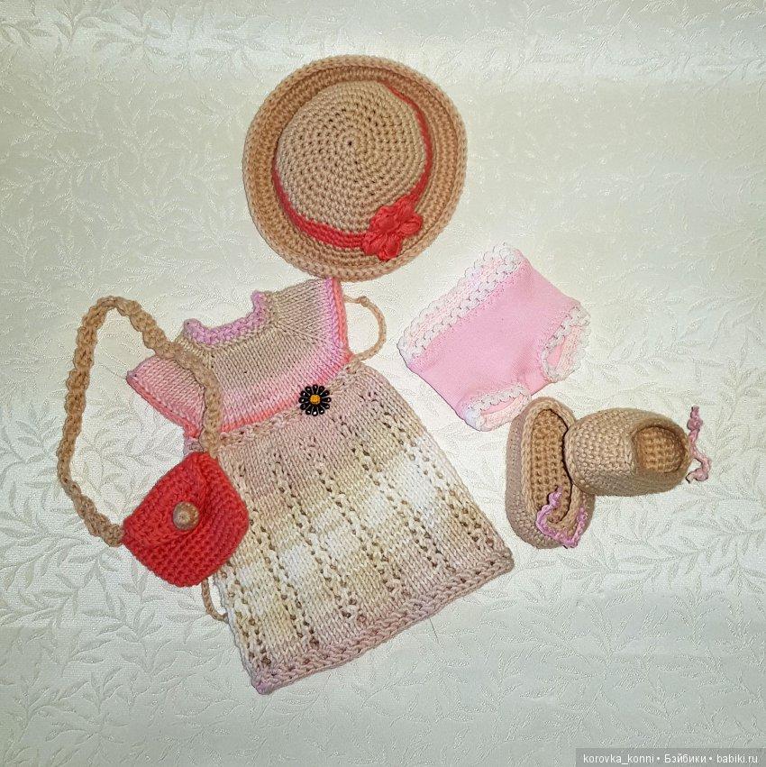 Вязаное платье, шляпка, туфельки, трусики и сумочка