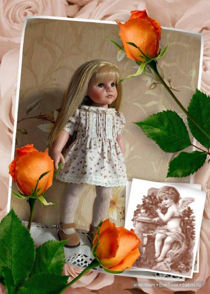 рамка, оранжевые розы