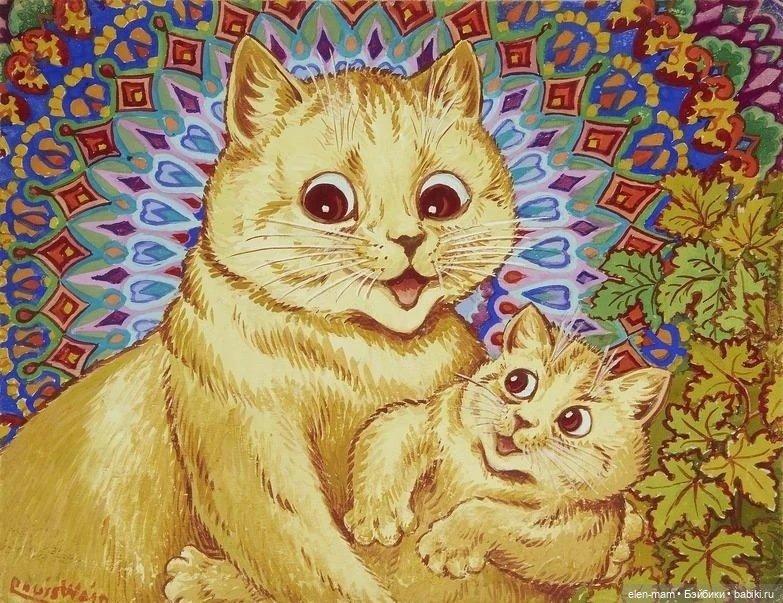 бежевая кошечка с котёнком, узор