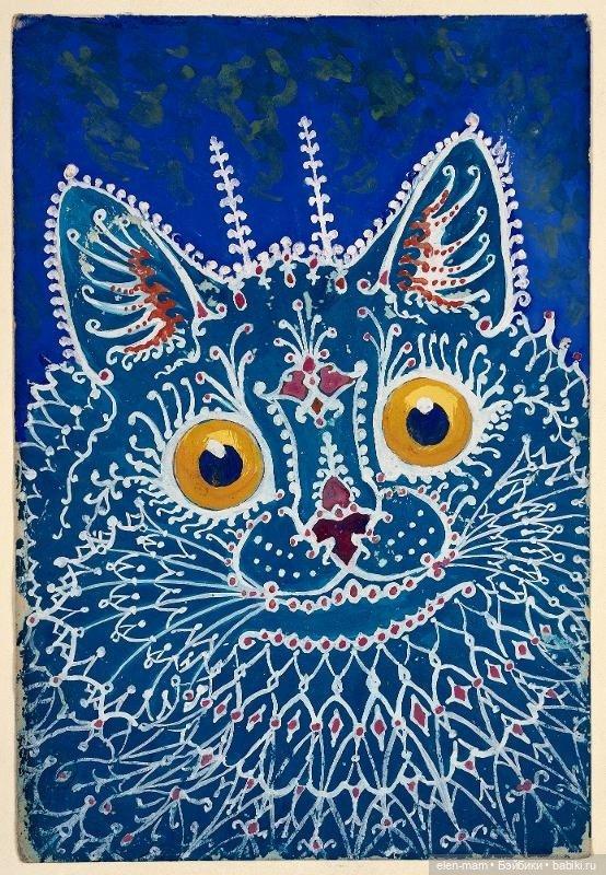 синий кот, узор