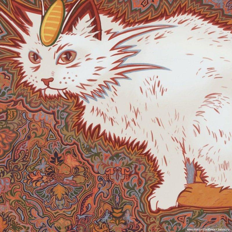 белый кот, странный
