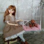 """""""Время для кофе""""-'платье для кукол Чам от Dust of dolls, Iplehouse Kid, mini Missy Kaye Wiggs 35 см."""