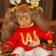 Винтажная ,немецкая ,крупная кукла Zapf c шикарной шевелюрой. Доставка.