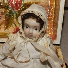 Антикварная,немецкая,карманная куколка -18 см. -очень трогательная .Доставка.
