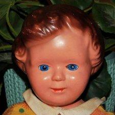 Редчайшая,немецкая,антикварная кукла 30-х годов,на шплинтах,с рельефной головой. Чердачная находка.