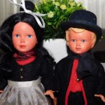Старинные,немецкие,целлулоидные куколки с красивой росписью лиц. Цена за лот.