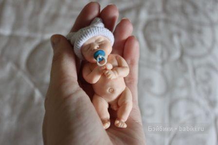 Ирина Мекко, малыш из пластики, ооак, Fimo puppen, спящий малыш, авторская кукла, медвежонок
