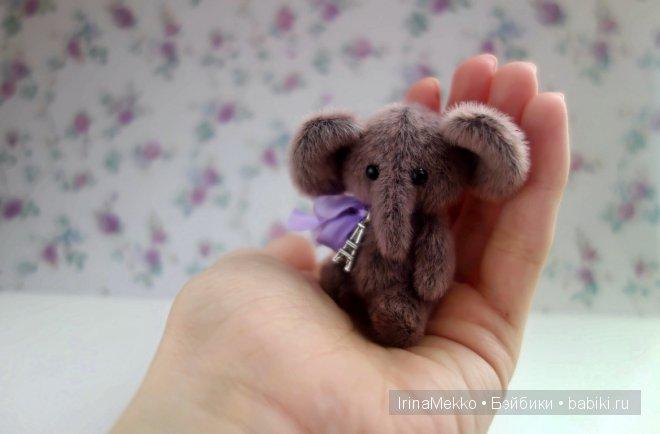 авторская игрушка Ирины Мекко, мини слоник