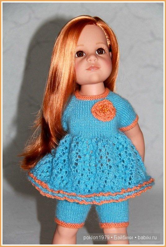 Ажурное платье для куклы спицами