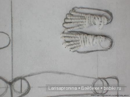 стопа делается из проволоки и в 2 слоя обматывается нитками Ирис
