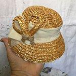Глубокая шляпка из натуральной соломки для винтажных или антикварных барышень