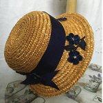 Шляпка из итальянской соломки для реплик и антикварных кукол