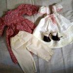 Аутфит для антикварной куклы из натуральных материалов.