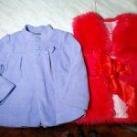 Продам вещи на больших куколок. Пальтишко и нарядная жилетка из искусственного меха.