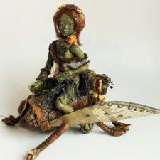 Ящерка, шарнирная фарфоровая кукла в стиле стимпанк
