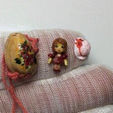 Микро кукла девочка в шляпке (миниатюра, дерево)