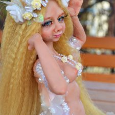 Жемчужная русалка. Авторская кукла ручной работы Натальи Михаелян. Есть ню