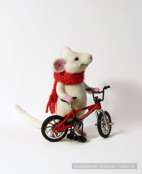 Авторская игрушка валянием из шерсти. Мышонок - велосипедист ...