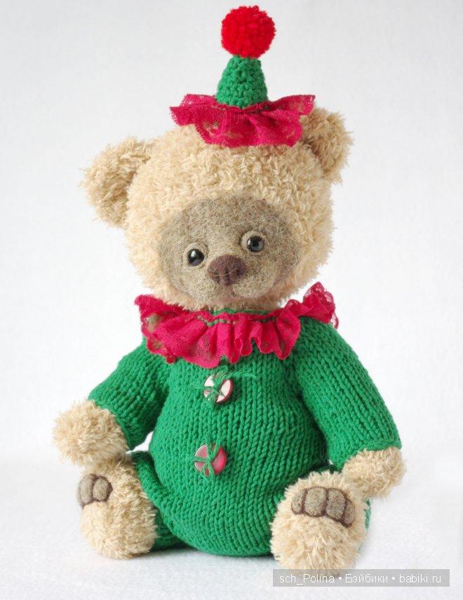 Мишка тедди - клоун, Полина Шапарина,  авторский мишка тедди,  связан крючком