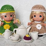 «Вязаное чаепитие» с куколками Драгоценные моменты. Precious Moments, 14 cm, The Doll Maker