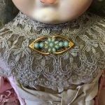 Чешская винтажная Брошь , имитация бирюзы , для создания образа антикварным куклам