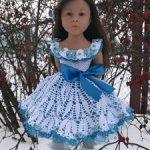 Нарядное, вязаное платье для кукол Gotz (Готц).