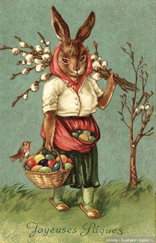 Открытка гдр зайцы пасха красят яйца 1952 год