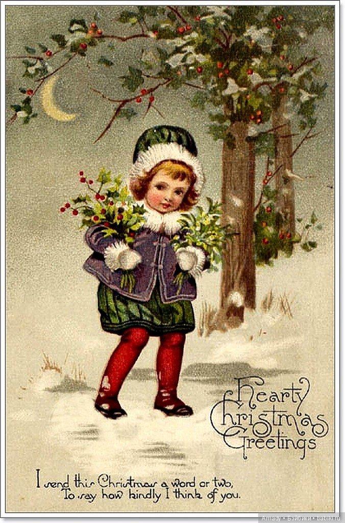 Рождество открытки иностранные, год картинки потере