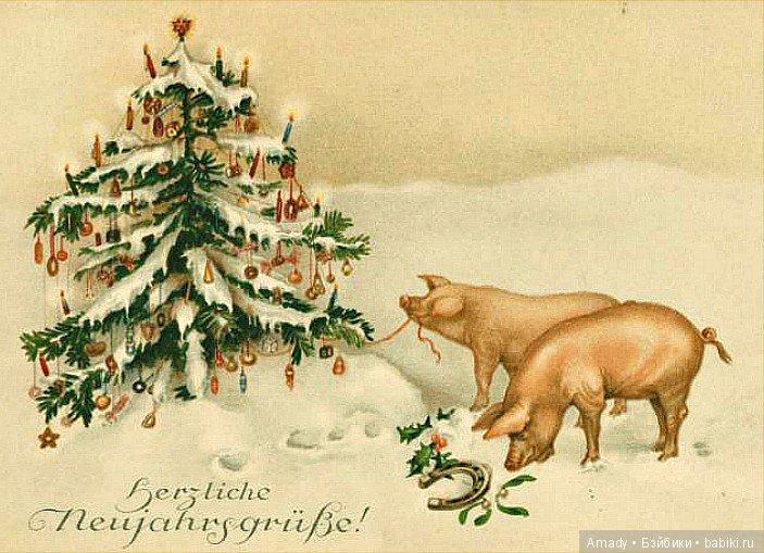 тонкой рождественская открытка год свиньи повязка является