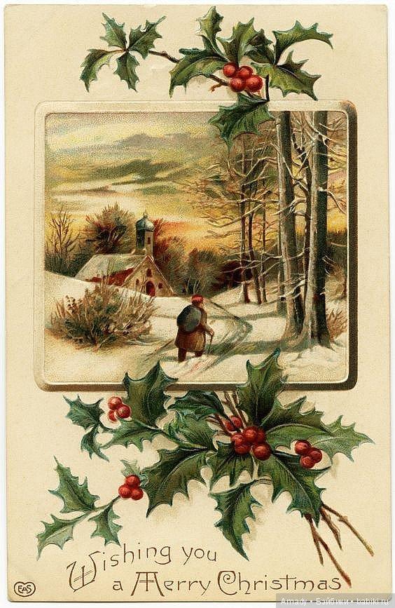 Новогодние и рождественские открытки ретро