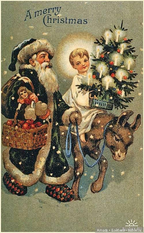 Зарубежные старые рождественские открытки, прикольные