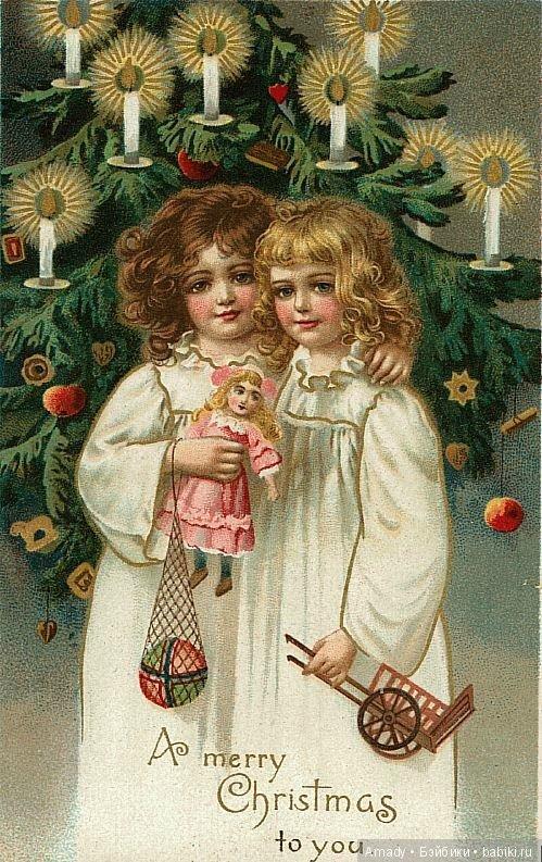 Старые рождественские открытки фото