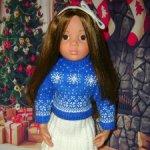Нарядный сине-белый вязаный костюмчик для Gotz, Maru and friends, Meadow dolls ростом 46 см