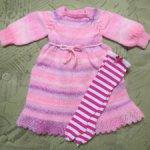 Платье с чулочками на куклу 65-70см