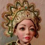 Авторская куколка в зелёной гамме