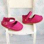 Обувь для кукол Paola Reina, босоножки кожаные малиновые